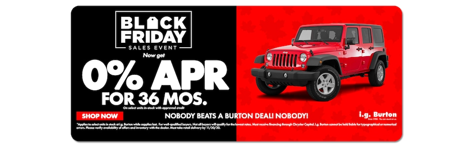 Get 0% APR for 36mos. on a new Wrangler!
