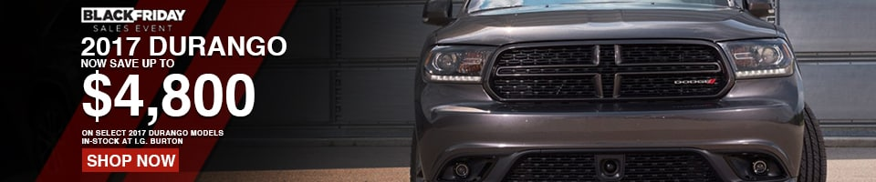 Save BIG on a new Dodge Durango from i.g. Burton!