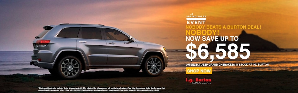Save up to $6,585 on a new Grand Cherokee!