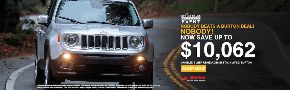 Save up to $10,062 on a new Renegade!