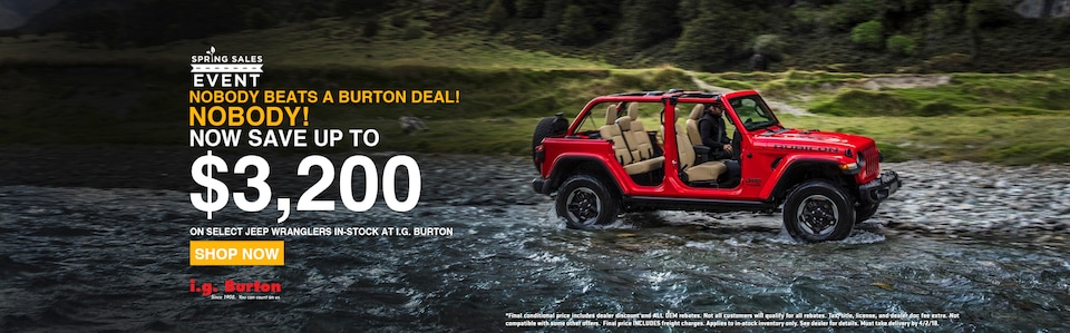 Save up to $3,200 on a new Wrangler!