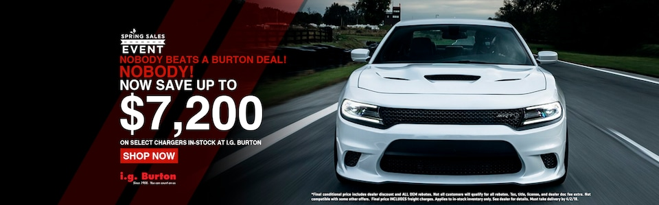 Save up to $7,200 on a new Dodge Charger!