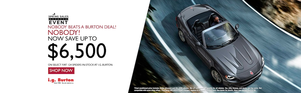 Save up to $6,500 on a new 124 Spider!