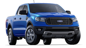 Blue 2019 Ford Ranger XL on a transparent background
