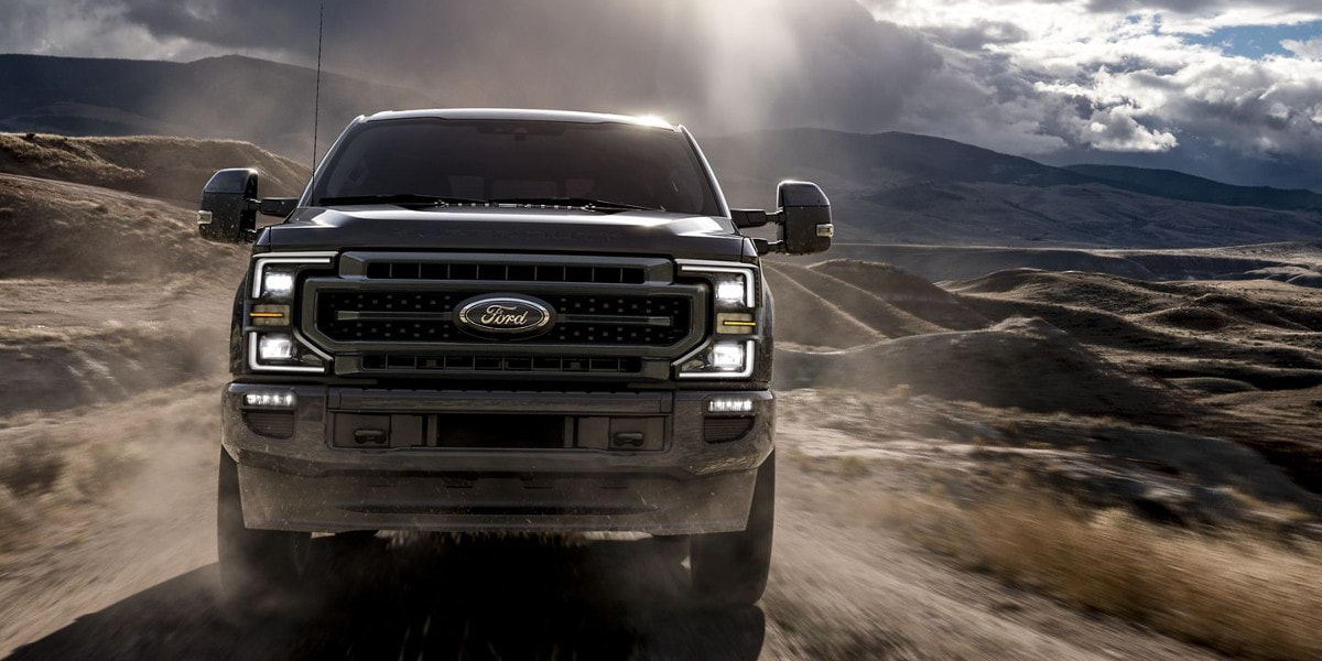 Black 2020 Ford Super Duty on road