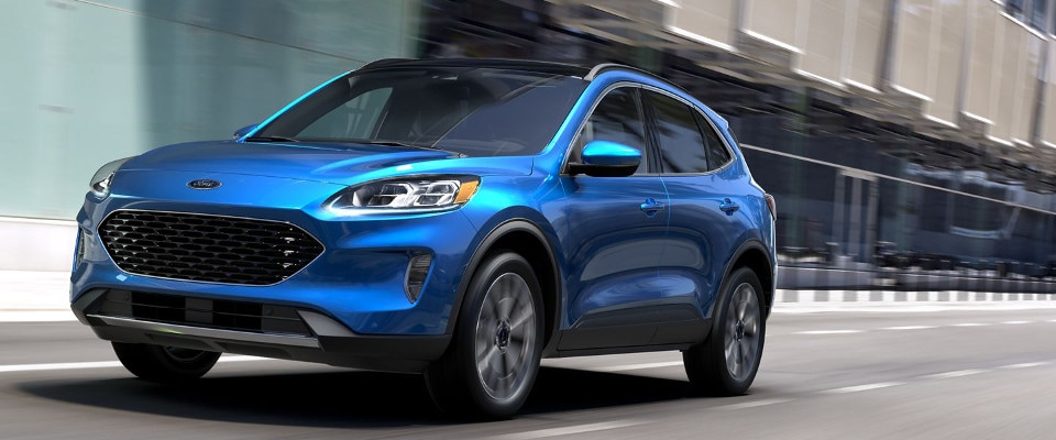 Blue 2020 Ford Escape on road