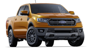 Orange 2019 Ford Ranger Lariat on a transparent background