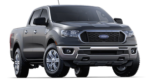Silver 2019 Ford Ranger XLT on a transparent background