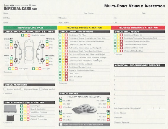 Car Inspection Checklist >> Imperial Cars Service Department Multi Point Vehicle
