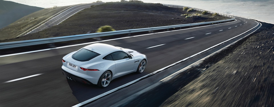 2019 Jaguar F-Type driving on a winding road