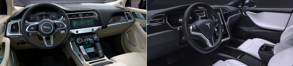 2019 Jaguar I-Pace and Tesla Model S Interior