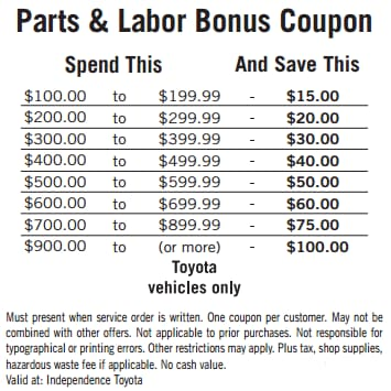 Toyota Oil Change Coupons >> Service Coupons Specials In Hazleton Independence Toyota