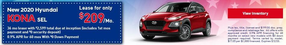 2020 Hyundai Kona SEL - Lease Offer