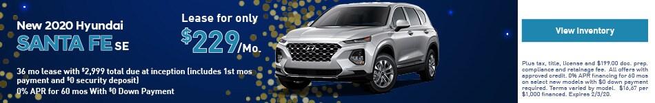 2020 Hyundai Santa Fe - Lease