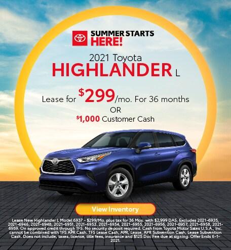 2021 Toyota Highlander L May
