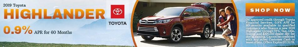 2019 Toyota Highlander - July Offer