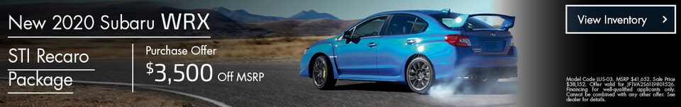 Purchase Offer! $3,500 off MSRP 2020 Subaru WRX STI Recaro Package!