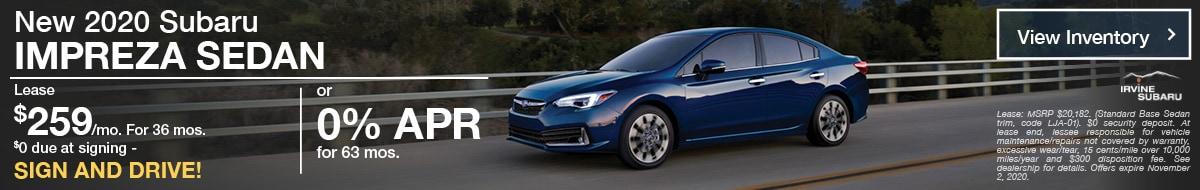 October New 2020 Subaru Impreza Sedan SIgn and Drive Offer