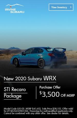 Purchase Offer! $3,500 off MSRP 2020 Subaru WRX STI Recaro Package!