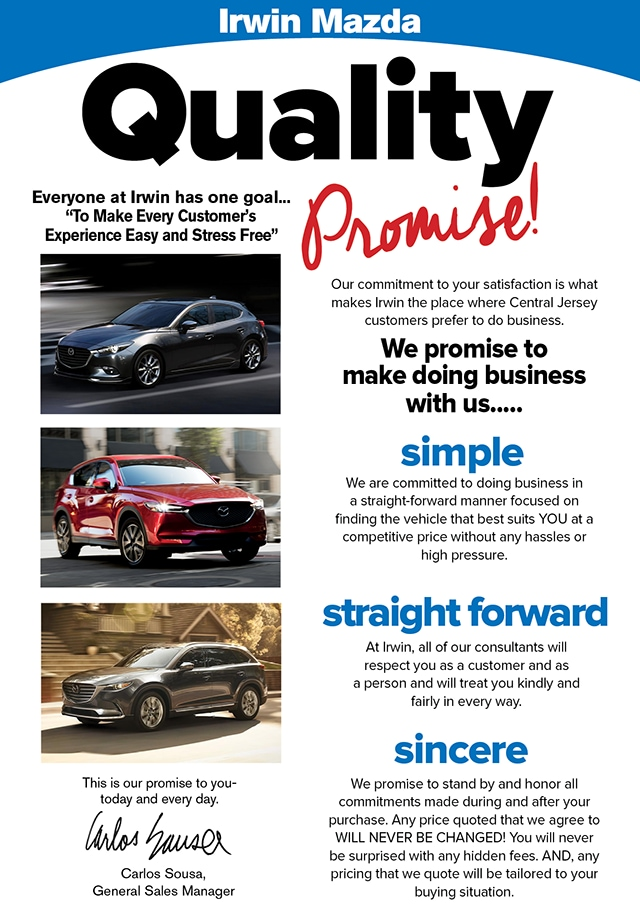 Our Quality Promise To You! | Irwin Mazda | NJ Mazda Dealer