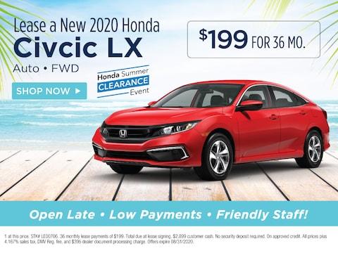 Lease a new 2020 Honda Civic LX