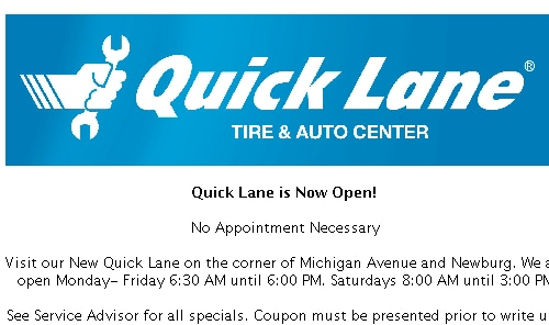 Quicklane Specials Jack Demmer Ford