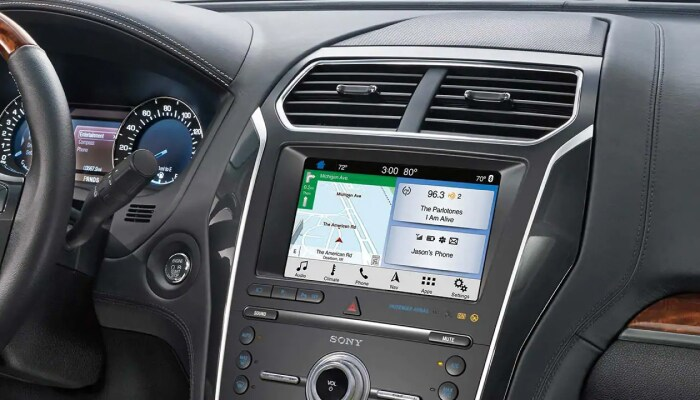 Touchscreen display inside the 2019 Ford Explorer, available at Jack Demmer Ford near Dearborn, MI