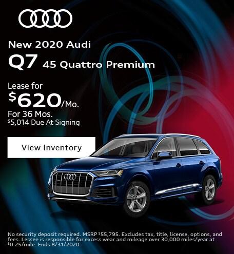 August New 2020 Audi Q7 45 Quattro Premium Lease Offer