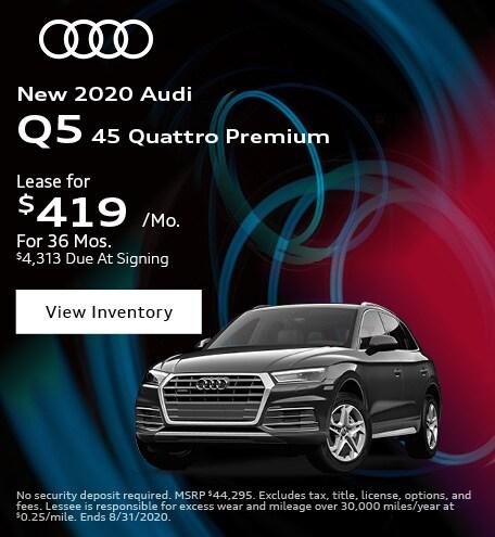 August New 2020 Audi Q5 45 Quattro Premium Lease Offer