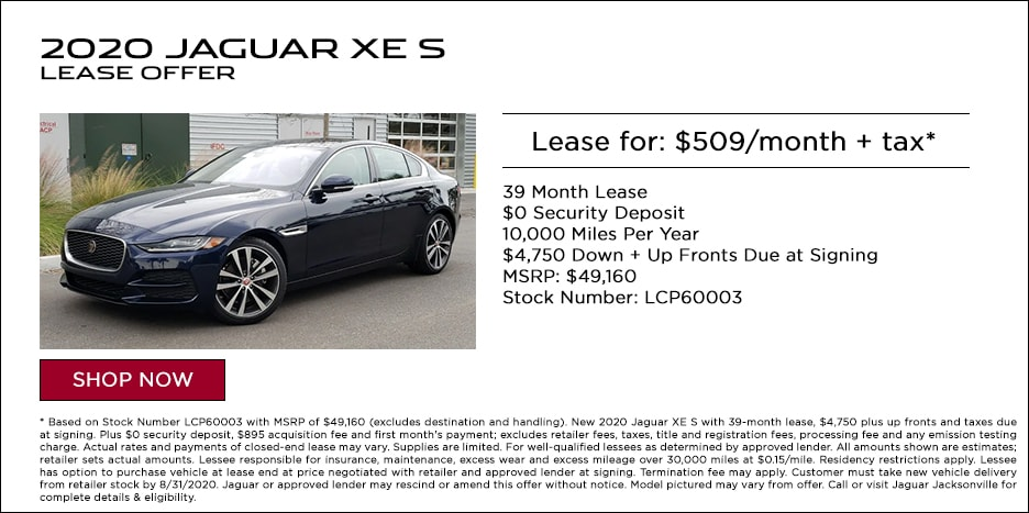 2020 JAGUAR XE S LEASE OFFER - $509/MO + TAX