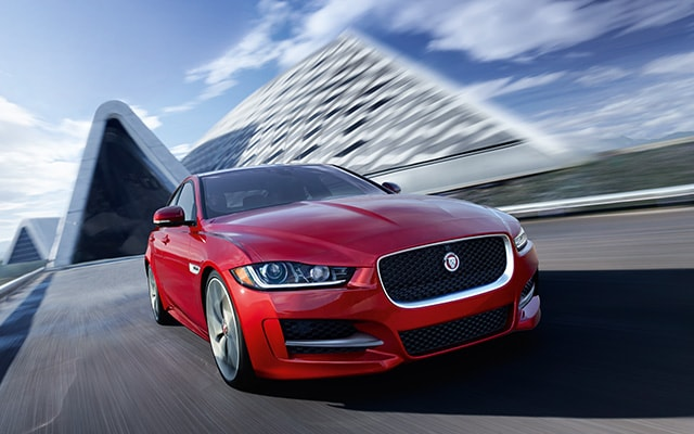Exterior of the Jaguar XE in motion available at Crown Jaguar