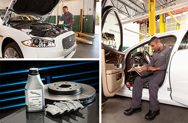 Certified expert technicians at work at Crown Jaguar service center.