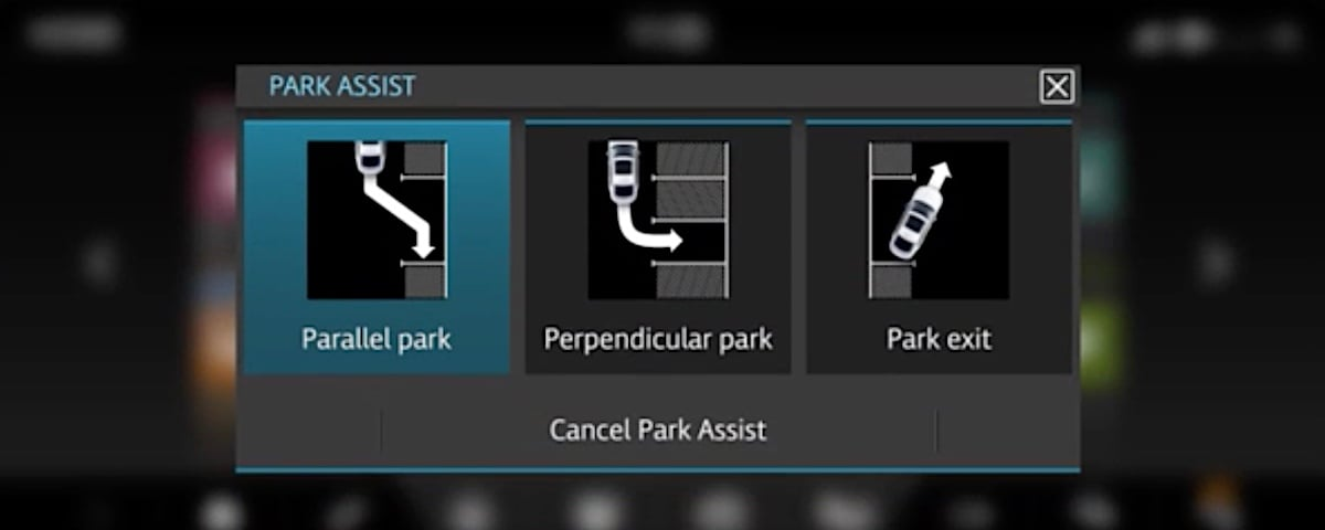 Jaguar Park Assist option screen