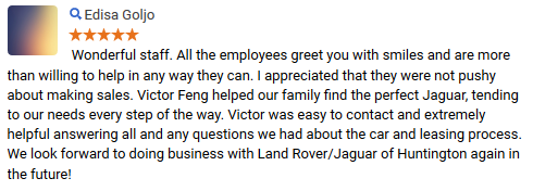 a review written by a Jaguar Huntington customer