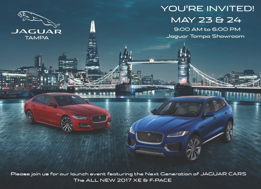 XE U0026 F PACE Launch Event Will Be Held At Jaguar Of Tampa, Located In The  New Car Showroom From 9:00am To 6:00pm On Monday May 23rd And Tuesday May  24th.