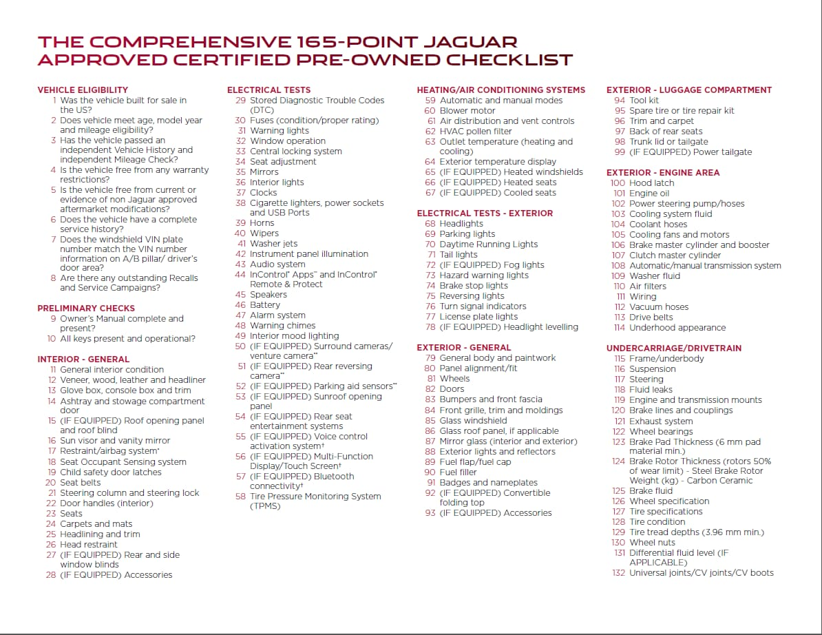 Certified pre owned jaguar 150 point check list pre for Mercedes benz cpo checklist