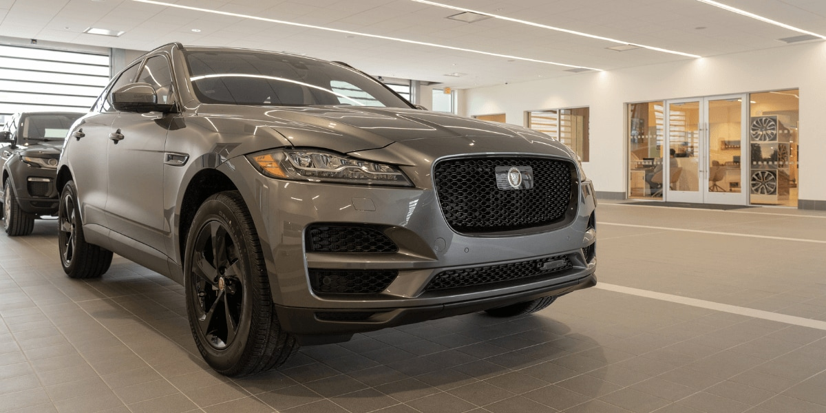 Jaguar SUV outside of the Jaguar West Houston parts department
