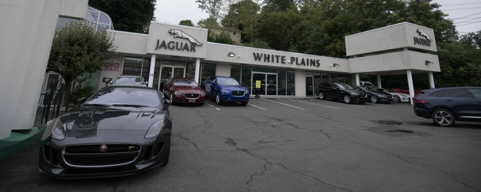 Exterior shot during the day of Jaguar White Plains, an auto dealership where cars and SUVs are sold.