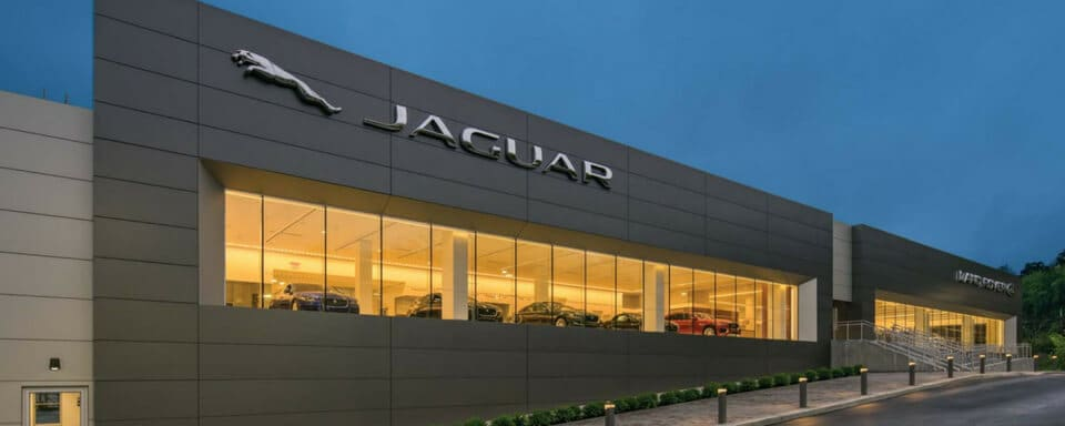 Exterior view of the new Jaguar White Plains dealership