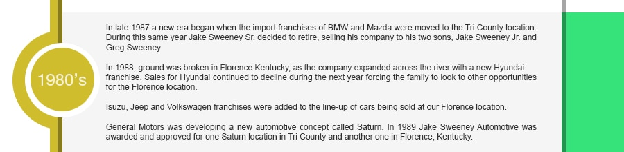 In late 1987 a new era began when the import franchises of BMW and Mazda were moved to the Tri County location. During this same year Jake Sweeney Sr. decided to retire, selling his company to his two sons, Jake Sweeney Jr. and Greg Sweeney. In 1988, ground was broken in Florence Kentucky, as the company expanded across the river with a new Hyundai franchise. Sales for Hyundai continued to decline during the next year forcing the family to look to other opportunities for the Florence location. Isuzu, Jeep and Volkswagen franchises were added to the line-up of cars being sold at our Florence location.General Motors was developing a new automotive concept called Saturn. In 1989 Jake Sweeney Automotive was awarded and approved for one Saturn location in Tri County and another one in Florence, Kentucky.
