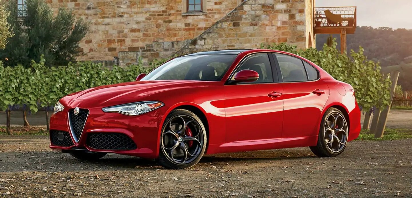 A red 2019 Alfa Romeo Giulia parked