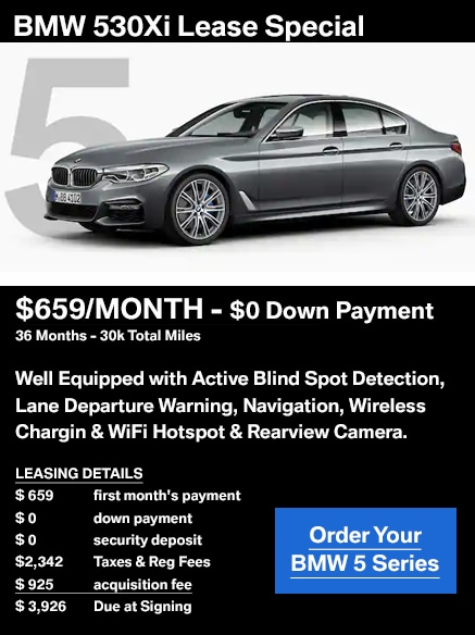 BMW 530xi Lease Special $659 per month with $0 down payment for 36 months