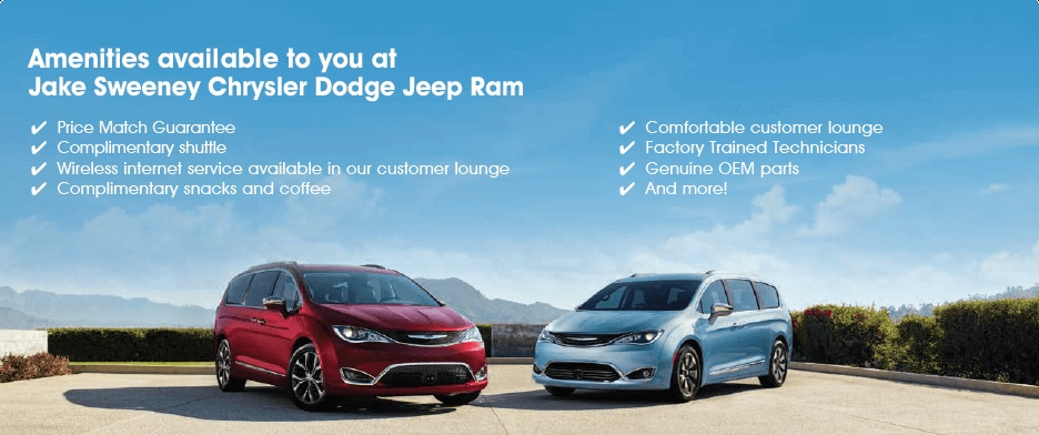 Amenities available to you at Jake Sweeney Chrysler Jeep Dodge Ram: Price Match Guarantee, Complimentary shuttle, Wireless internet service available in our customer lounge, complimentary snacks and coffee, comfortable customer lounge, Factory trained technicians, Genuine OEM parts, and more!