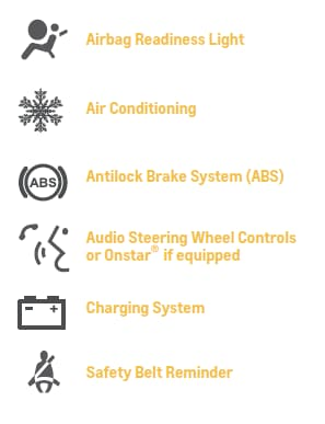 1. Airbag Readiness Light, 2. Air Conditioning, 3. Antilock Brake System (ABS), 4. Audio Steering Wheel Controls or OnStar if equipped, 5. Charging System, 6. Safety Belt Reminder