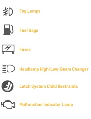 1. Fog Lamps, 2. Fuel Gage, 3. Fuses, 4. Headlamp High / Low-Beam Cahnger, 5. Latch System Child Restraints, 6. Malfunction Indicator Lamp