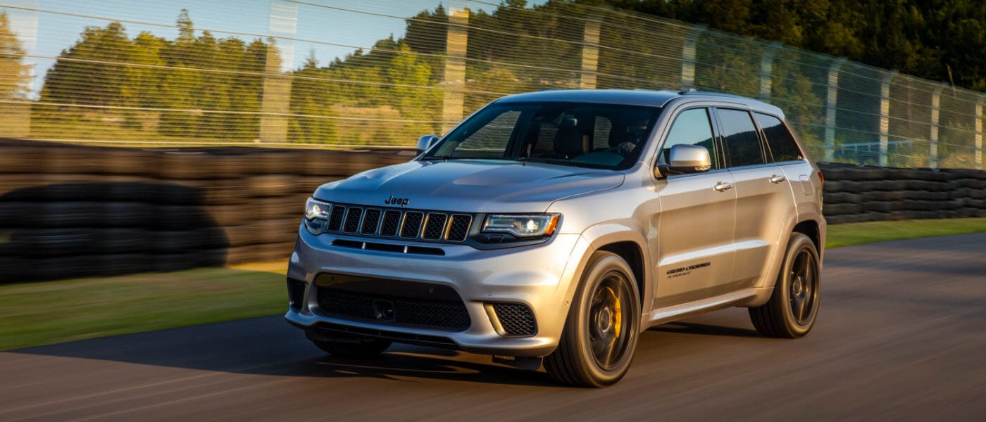 New Jeep Grand Cherokee Driving on a race track