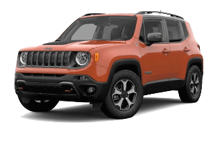 An orange 2019 Jeep Renegade