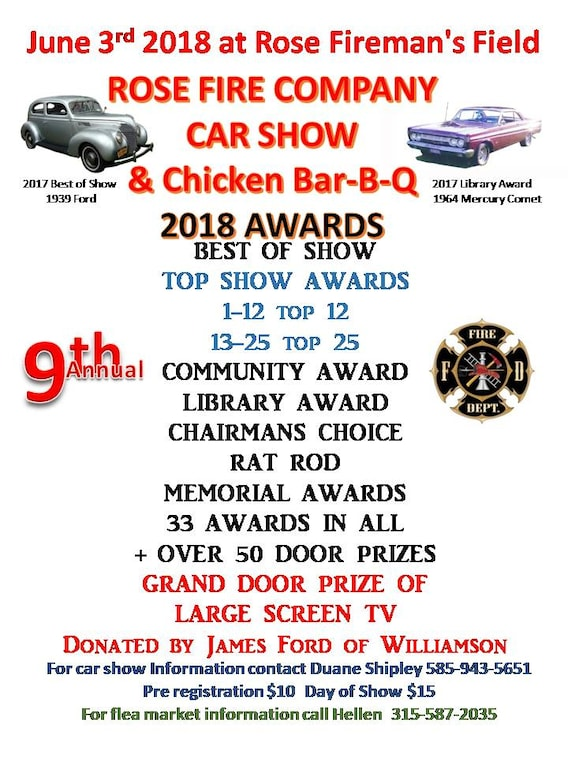 James Ford Of Williamson >> Rose Fire Company Car Show And Bar B Q James Ford Of