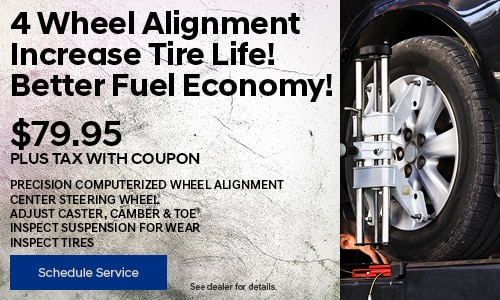 4 Wheel Alignment Increase Tire Life! Better Fuel Economy!
