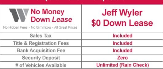 0 Down Lease Deals >> No Money Down Lease